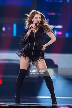 Jana Burceska representing Macedonia performs the song 'Dance Alone' during the rehearsal for the second semi final of the 62nd Eurovision Song Contest at International Exhibition Centre (IEC) on May 11, 2017 in Kiev, Ukraine. The final of this year's Eurovision Song Contest will be aired on May 13, 2017.