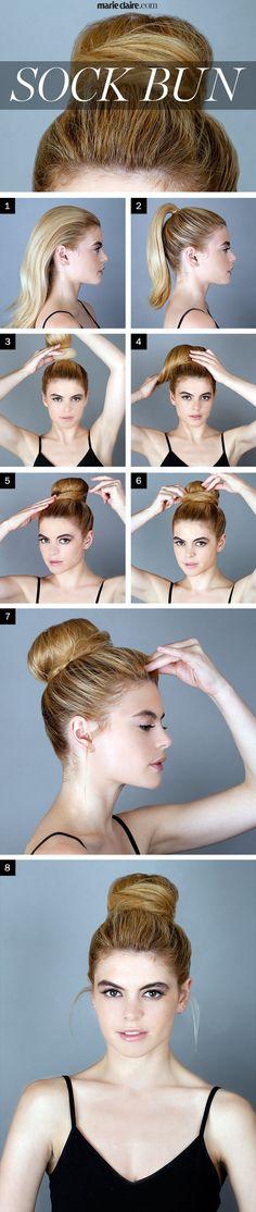 Hair How-To: Sock Bun | MarieClaire.com