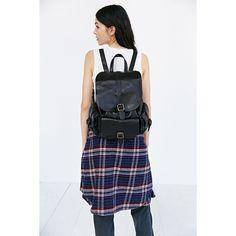 BDG Classic Pocket Backpack ($59) ❤ liked on Polyvore featuring bags, backpacks, black, black drawstring backpack, black bag, pocket bag, vegan leather bags and pocket backpack