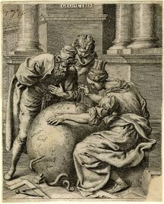 Septem Liberales Artes;  Francis Cleyn (Print made by); Geometry: woman with a tower on her head and two men measuring a globe.