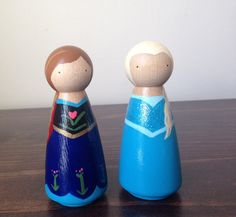 Anna & Elsa  Large Handpainted Wooden Peg Dolls by LittleKidGifts