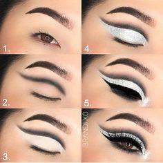 Sparkly Silver Eye Makeup for Hooded Eyes Asian Eye Makeup, Makeup Eye Looks, Eye Makeup Steps, Eye Makeup Art, Smokey Eye Makeup, Eyeshadow Makeup, Makeup Tips, Makeup Ideas, Asian Drag Queen Makeup