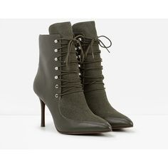 CHARLES & KEITH Speed Lace Booties ($83) ❤ liked on Polyvore featuring shoes, boots, ankle booties, olive, stiletto booties, lace boots, heels stilettos, lace booties and olive green booties