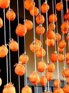 dried persimmons BECOME SWEET IF THEY ARE EVEN THE SOUR KIND ACCORDING TO MY FRIENDS IN THE REGION OF KUMAMOTO OF THE ASO VALCANO AREA.