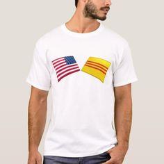 Shop US & Vietnam Flags (South Vietnam) T-Shirt created by Vexillophile. Vietnam T Shirts, Vietnam Flag, South Vietnam, Palestine Flag, Israel Flag, Panama Flag, Honduras Flag, Africa Flag, Sierra Leone