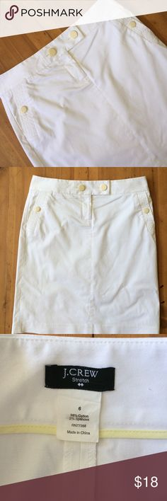 J.Crew White Skirt Great basic for summer 21 in long 32 in waist button details has front pockets comfortable size 6 stretchy moves with body excellent condition J. Crew Skirts Midi