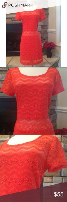 "HPFree People Lace Dress This dress is so beautiful. Coral color, lace detail. Upper chest and mid area are sheer. This dress is in new condition. Lower back. My bra did not show when wearing this! Tag reads large measurements are armpit to armpit 17"" shoulder to hem 35"" waist is 15"". Dress has stretch! Host Pick- Total Trendsetter Free People Dresses Midi"