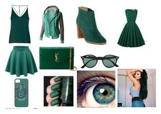 """""""Day and Night 32- Dark Green"""" by marianaraposo on Polyvore featuring Topshop, LE3NO, Ted Baker, Yves Saint Laurent, Ray-Ban and SkinCare"""