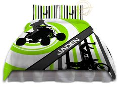 Motocross Comforters - Bedding Green & White - Motocross Comforter - ATV Kids/Boys Motocross Personalized, King, Queen/Full, Twin #271 by EloquentInnovations on Etsy