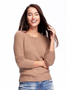 Relaxed Textured Crew-Neck Sweater for Women | Old Navy