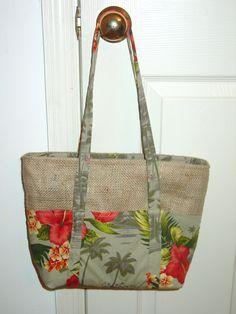Burlap coffee bag and Hawaiian print fabric bag.