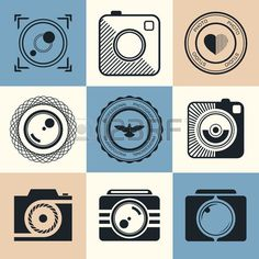 Vector collection of photography logo templates Photography vintage and modern badges and photo labe Stock Vector