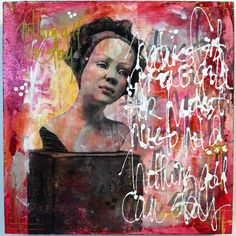 Mixed media painting on panel, by Kelly Thiel, image transfer, mostly acrylic, mixed media painting, portraits, figurative art, art, pink, red