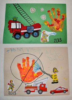 Footprint Firetruck - Thank you card for Firefighters