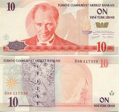 Turkey 10 Lira 2005 President Mustafa Kemal Atatürk; World map of 1513 by Piri Reis; Sailing ship.