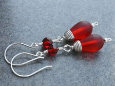 SALE  Earrings Red Frosted Glass Teardrop by CasualDesignsbyJBS, $26.00