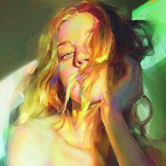 Color and light study, Yanjun Cheng Digital Portrait, Portrait Art, Digital Art, Ipad Air Wallpaper, Art Chinois, Light Study, Illustrations, Figurative Art, Female Art