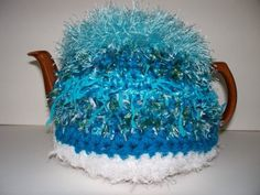 Tea Cozy Handmade Turquoise and White Crocheted by soulybarb Tea Cosies, Cozies, Tea Cozy, Coffee Cozy, Tea Cosy Pattern, Coffee Filters, Types Of Yarn, Teapot, Tea Time