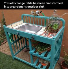 Repurposed changing table with sink