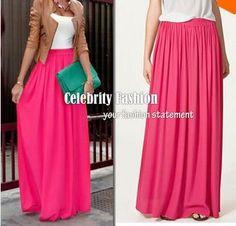 Women Long Skirt Pastel Candy Color Pleated Chiffon Maxi Skirts Beach Boho Summer Skirts