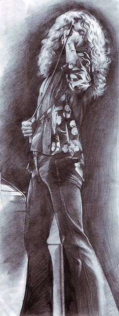 http://custard-pie.com/ Robert Plant | Led Zeppelin. Even as a drawing with his face covered, he's still one of the sexiest rockers.