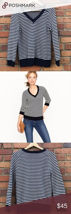 J. Crew Navy and White Striped V Neck Sweater Sz S Stay warm while looking cute with this classic J. Crew striped sweater. Perfect for wearing with your favorite skinnies for a Parisian look to with a pair of boyfriend jeans for a relaxed look, this will be your cold weather favorite. Preowned from a smoke free home, in excellent used condition. Check out the other items in my closet and create your own custom bundle! J. Crew Sweaters V-Necks