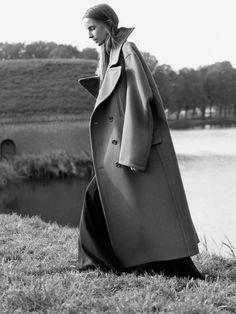 Huge oversized wool coat. Beautiful photo