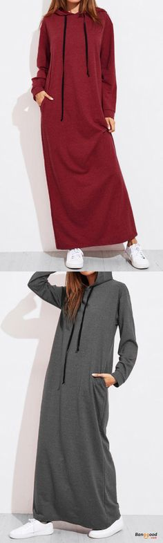 US$28.69 + Free shipping. Size: S~2XL. Color: Army Green, Black, Burgundy, Dark Grey. Fall in love with casual and elegant style! Casual Women Solid Colorful Sleeve Long Hooded Sweatshirt Dress.