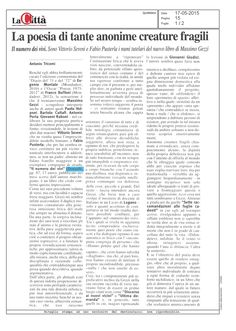 Recensione di Antonio Tricomi, «La Città», 17 maggio 2015