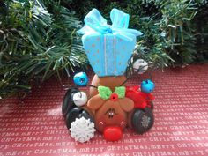 Polymer Clay Rudolph with Huge Present on his back - FIGURINE