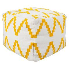 Pouf: Threshold Kilim Square Pouf - Ivory/Yellow
