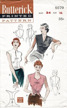 Butterick 5579 1950s blouse sewing pattern