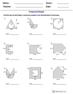 area of compound shapes adding regions worksheets math aids com pinterest worksheets math. Black Bedroom Furniture Sets. Home Design Ideas