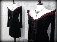 Traditional Romantic Gothic Black Velvet Off Shoulder Corset Wiggle Dress 12 14 | THE WILTED ROSE GARDEN