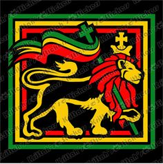 Rasta Lion Square Vinyl Decal - fits car windows, laptops and any smooth surface