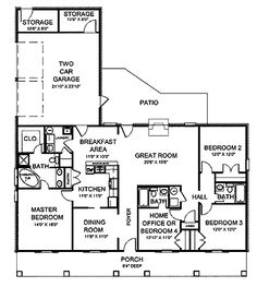 Home Plans HOMEPW07933 - 1,856 Square Feet, 4 Bedroom 3 Bathroom Country Home with 2 Garage Bays