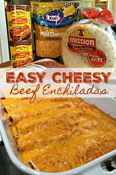 EASY CHEESY BEEF ENCHILADAS - Go-to family favorite for almost two decades. With just four ingredients and under an hour from start to finish, these cheesy, beefy, saucy enchiladas are a cinch to make, always a hit! Easy Enchilada Recipe, Easy Beef Enchiladas, Mexican Enchiladas, Mexican Dinner Recipes, Beef Recipes For Dinner, Mexican Dinners, Enchiladas Potosinas, Enchilada Lasagne, Tartiflette Recipe