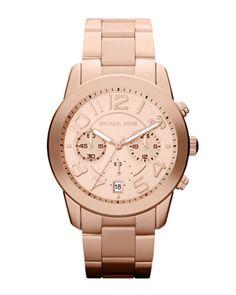 Michael Kors Mid-Size Rose Golden Stainless Steel Mercer Chronograph Watch.