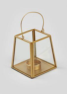 Pyramid Lantern – Gold – Matalan