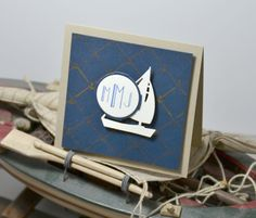 Kerrianne Gwin for Wplus9 featuring Dockside Backgrounds and Monogrammed stamps, and Nautical Notions die.
