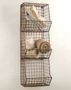 Glory & Grace Rustic Industrial Wall Mount Metal and Wire General Store Multi-Bin Storage Baskets Glory & Grace Wire Wall Basket, Wire Baskets, Baskets On Wall, Hanging Baskets, Primitive Bathrooms, Primitive Kitchen, Primitive Decor, Country Bathrooms, Country Primitive