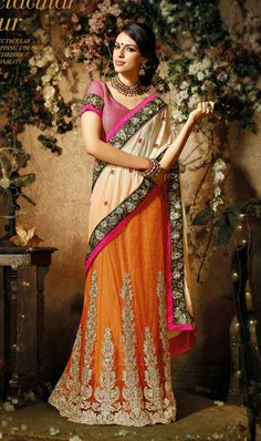 USD 91.26 Cream and Orange A Line Embroidered Faux Georgette Lehenga Saree 27009