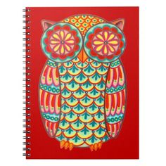 Cute Colorful Retro Owl Notebook featuring the art of Thaneeya McArdle #owl