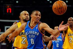 Derek Fisher - I was hoping to find a pic like this Derek as a Laker playing the OKC Thunder...sooo glad he's in Blue now!