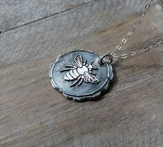 Bee-Bumblebee-Honeybee wax seal fine silver pendant sterling silver necklace by ALMrozarka on Etsy Silver Charms, Sterling Silver Necklaces, Silver Jewelry, Wax Seals, Natural Gemstones, Fashion Jewelry, Jewelry Making, Pure Products, Pendant