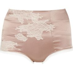 Elle Macpherson Intimates Maria high-waisted stretch silk-satin briefs ($25) ❤ liked on Polyvore featuring intimates, panties, lingerie, underwear, shorts, undies, elle macpherson intimates, high rise panties, satin panty and underwear panties