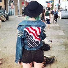 american flag, fashion, girl, green hair