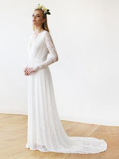 f8b3c9827cf9 Ivory Floral Lace Long Sleeve Wedding Dress. Dreamy wedding gown for the  romantic and stylish