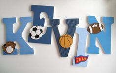 Blue Custom Decorated Wooden Letters Personalized by LetterLuxe, $25.00