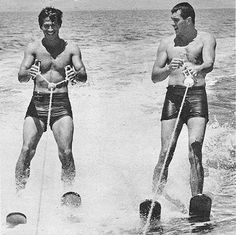 George Nader and Rock Hudson go for fast spin around the Salton Sea.